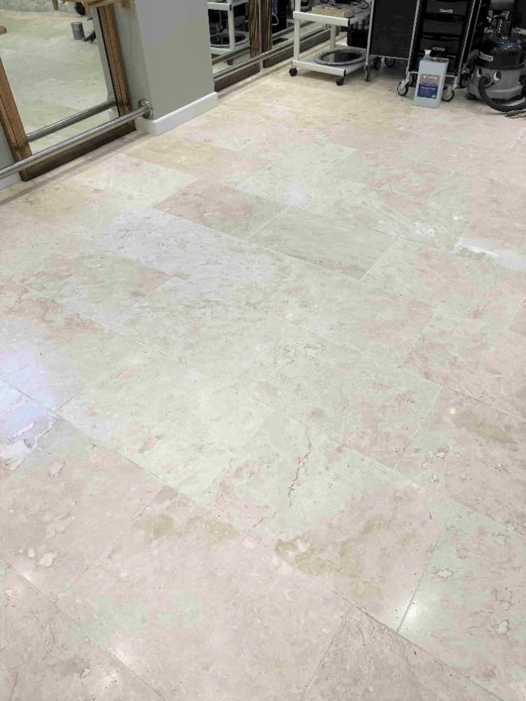 Travertine Floor After Clean Seal Kidlington Hair Salon
