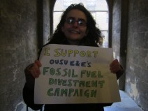 """""""I support divestment because we have to show fossil fuel companies that their behaviour is irresponsible, unethical, and needs to stop. Oxford University's reputational power would make its divestment from fossil fuels symbolic."""" - Rivka Micklethwaite, 1st year Engineer, Balliol College"""