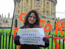 """""""Fossil fuel companies are ignoring the mountain of scientific evidence and assuming they can stick with business as usual. Instead of helping us transition to a sustainable energy system, they're exploring, extracting, and lobbying for more fossil fuels. Oxford divesting is one way of telling the fossil fuel companies, politicians and financial markets that this has got to stop."""" - Michaela Collord, D.Phil, University College"""