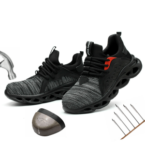 Leoxose Men Light Sneaker Indestructible Steel Toe Soft Anti-piercing Work Boots Men Shoes New Breathable Mesh Safety Shoes