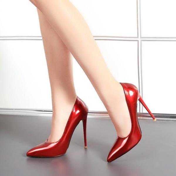 Popular large size women's shoes stiletto heels shallow mouth single shoes extra large pointed