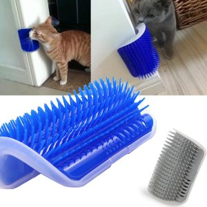 Cat Self Groomer Brush Pet Grooming Supplies Hair Removal Comb for Cat Dog Hair Shedding Trimming Cat Massage Device with catnip