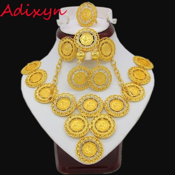 Adixyn Turkey Coin Necklace/Earring/Ring/Bracelet Jewelry Sets For Women Gold Color Coins Arabic/African Bridal Wedding Gifts