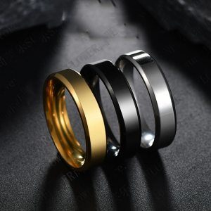 2020 6mm Titanium Steel Black Finger Rings Set For Man Silvery Plated Ring For Women Golden-color Jewelry Female Wedding Ring