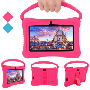 Discount 7'' Kids Tablet Eye Protection HD Screen Parent Control Pre-Installed Educational APP Android Tablets PC for Children