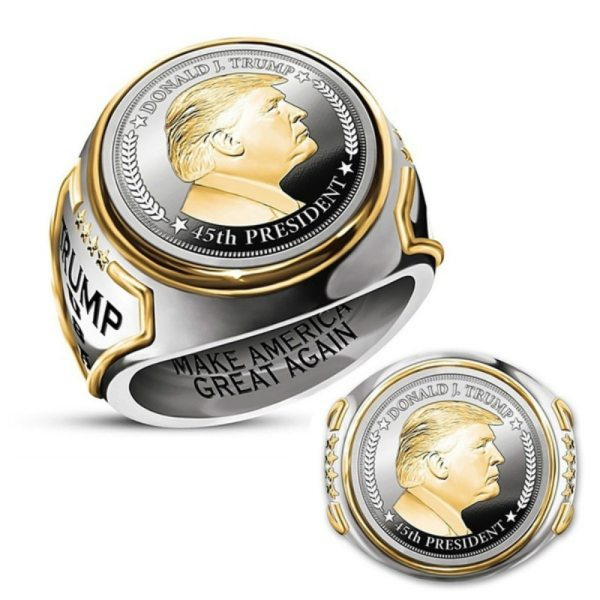 Personality US President Trump Statue Commemorative Rings Fashion Two Tone Coin High Jewelry Accessories Souvenir Gift