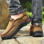 Only for VIP, Men Genuine leather outdoor sneakers Vintage boots loafers summer shoes Non-slip rubber sole Moccasin Plus size 48