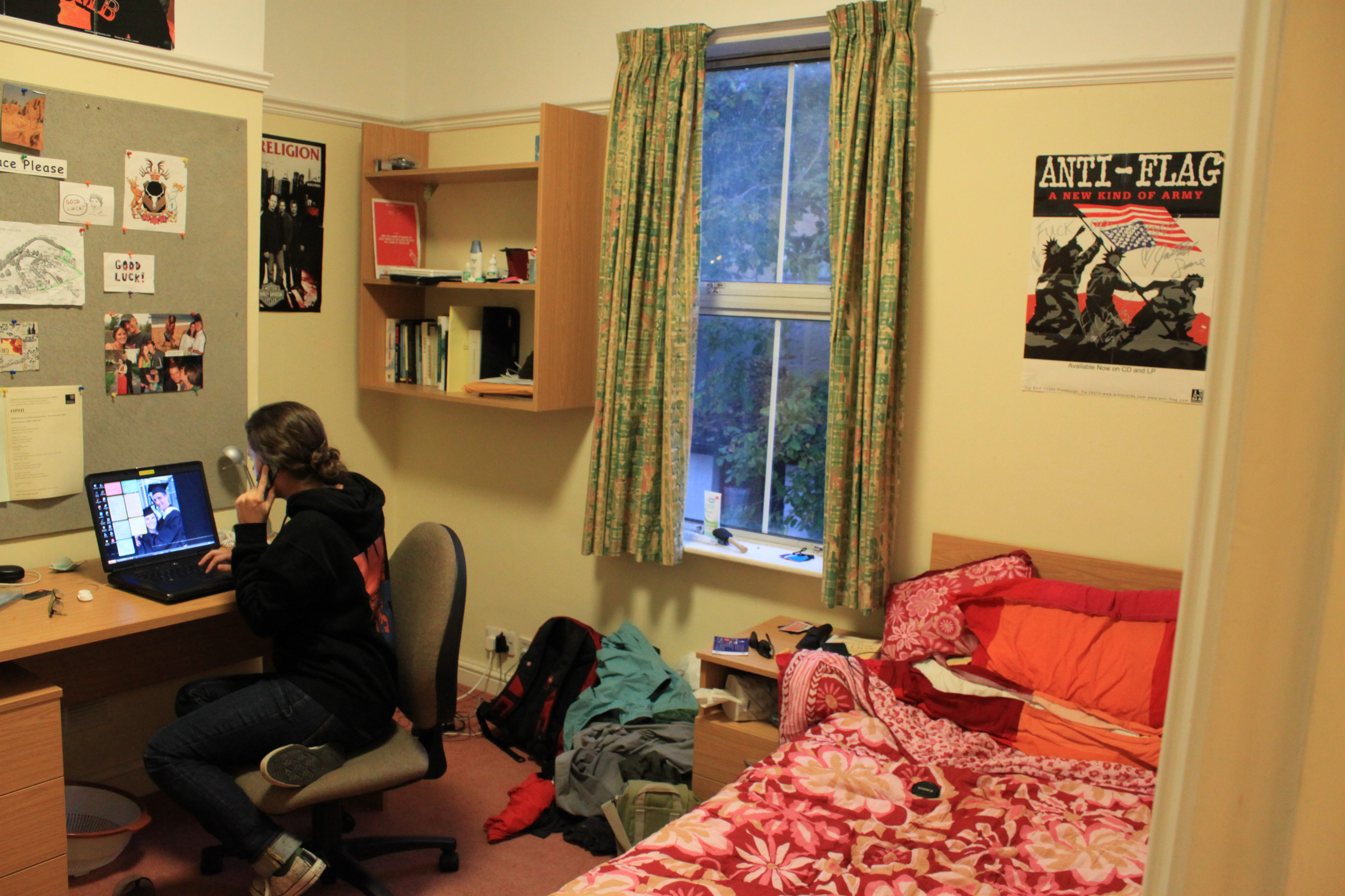 If you look closely, you may notice that my room is decorated the EXACT SAME as my Princeton dorm room... and my room in middle school.  Also, note the manly comforter, inherited from the previous Sach's Scholar.