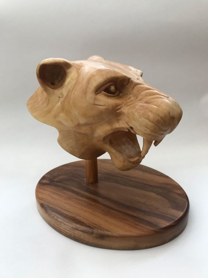 Bust of Lioness in Lime mounted on Walnut