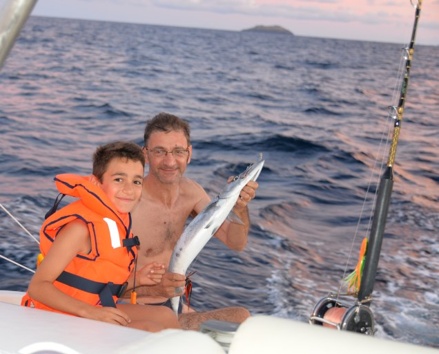 Yvan, son fiston Esteban et un copain Barracuda