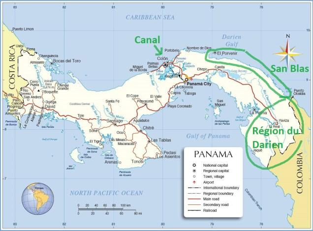 panama-carte Darien San Blas Canal