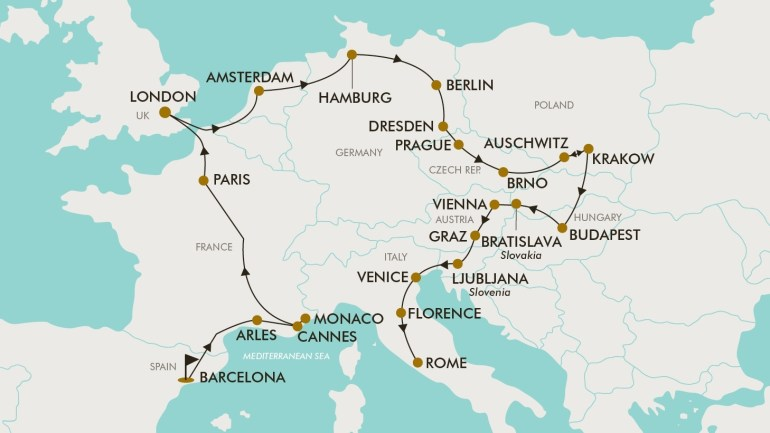 30 Day Grand Europe   Tripadeal within Map Of France Germany And Austria