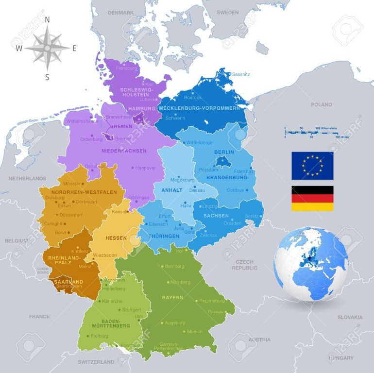 A High Detail Vector Map Of Germany States And Major Cities,.. in Map Of Germany With States And Major Cities