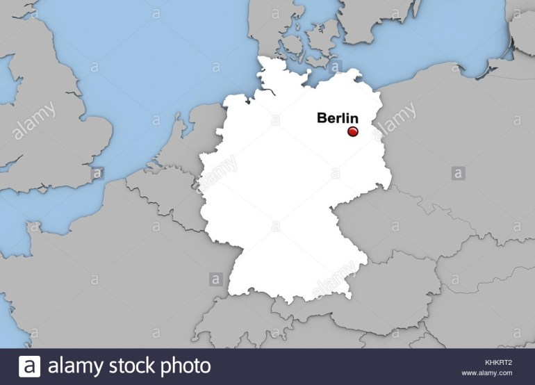 Abstract 3D Render Of Map Of Germany Highlighted In White Color And intended for World Map With Germany Highlighted