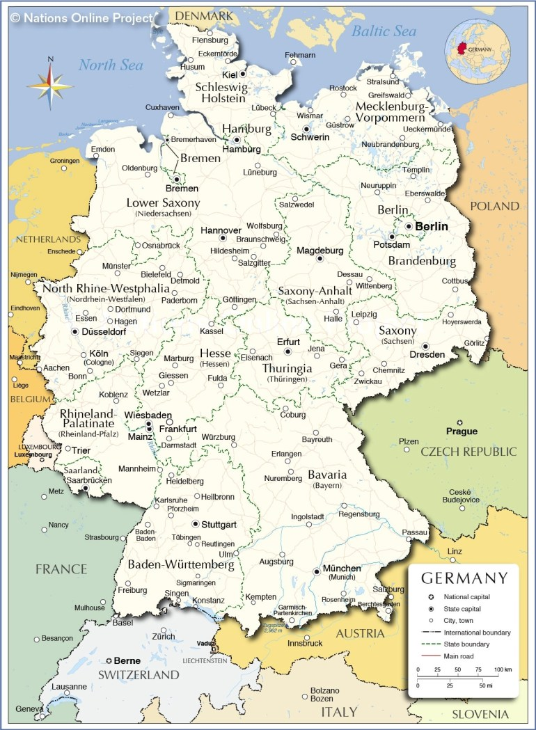 Administrative Map Of Germany - Nations Online Project regarding East West Germany Border Map