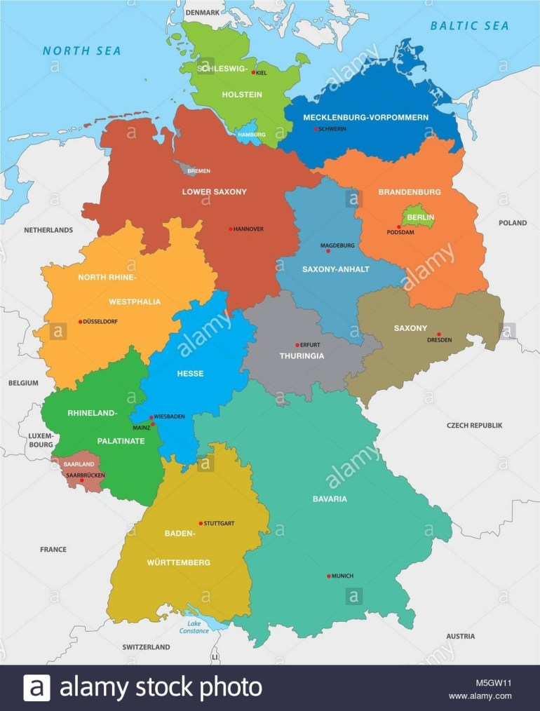 Administrative Map Of The Federal Republic Of Germany In English pertaining to Map Of Germany And Austria In English