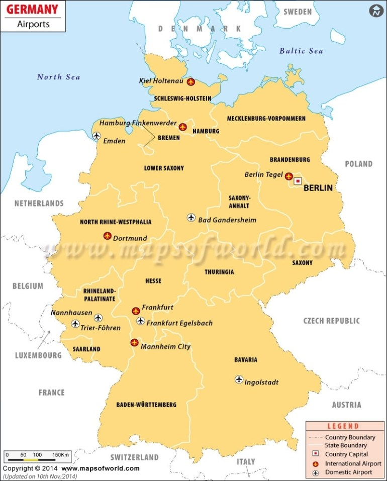 Airports In Germany, Germany Airports Map within International Airports In Germany Map