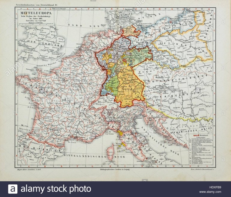 Antique Map Of Middle Europe At 1900, From The German Meyers Stock inside German Map In 1900