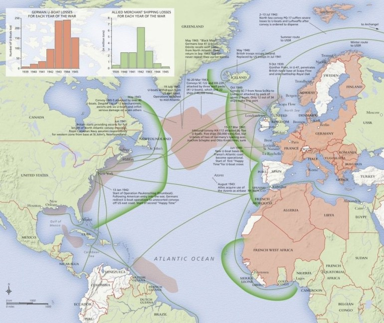 Attention Ww2 Buffs Map Showing Atlantic Battles | Informative throughout Ww2 German Maps Of Britain