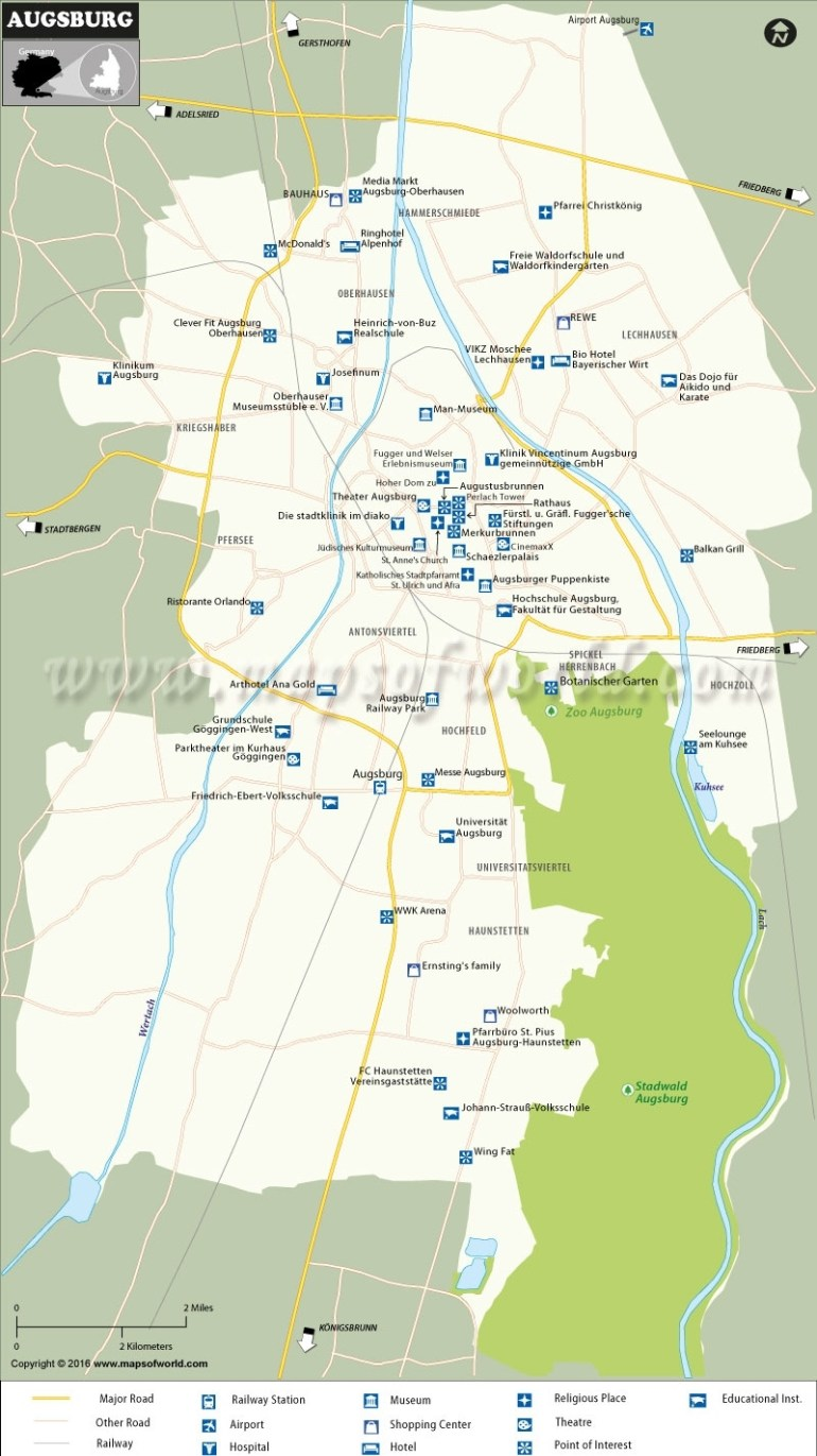 Augsburg Map, Augsburg City Map pertaining to Augsburg Germany Map