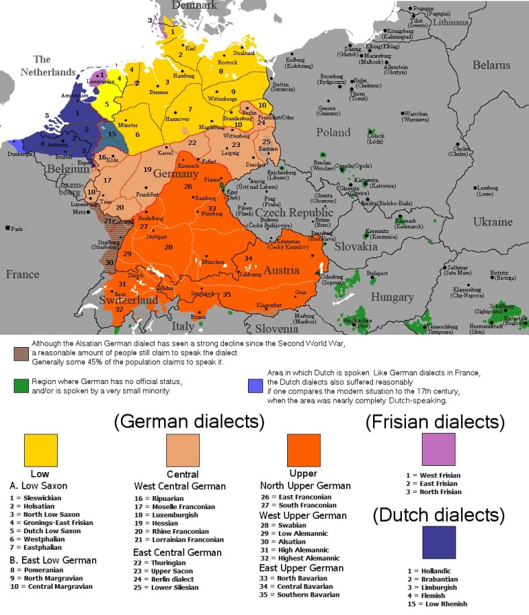 Austria And Germany in Map Of Germany In German Language