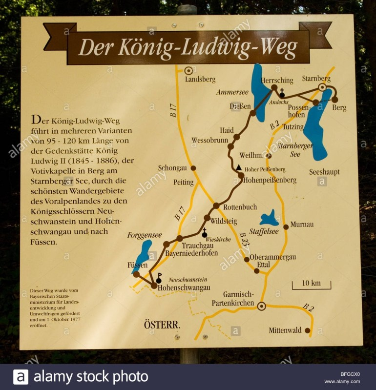 """Bavaria, Germany Along The King Ludwig Way Or """"koenig Ludwig. The throughout Ludwig Castles Germany Map"""