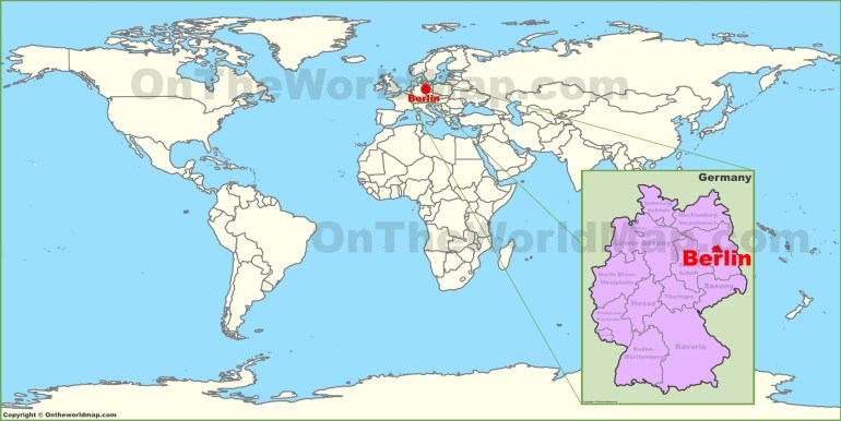 Berlin On The World Map throughout Germany In The Map Of The World