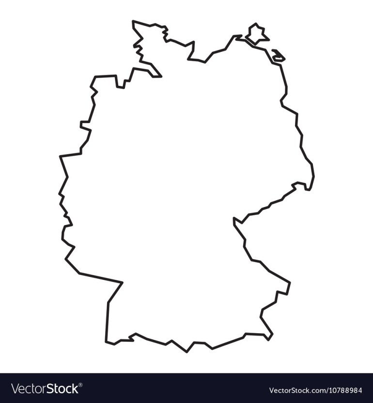 Black Contour Map Of Germany inside Germany Map Outline Blank