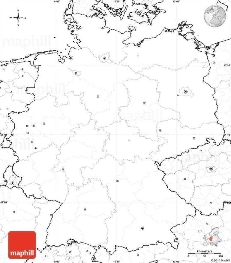 Blank Simple Map Of Germany, No Labels in Blank Map Of Germany And Surrounding Countries