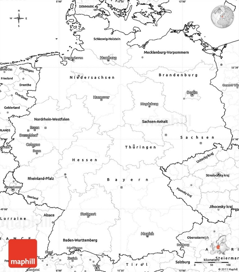 Blank Simple Map Of Germany throughout Outline Map Of Germany Printable