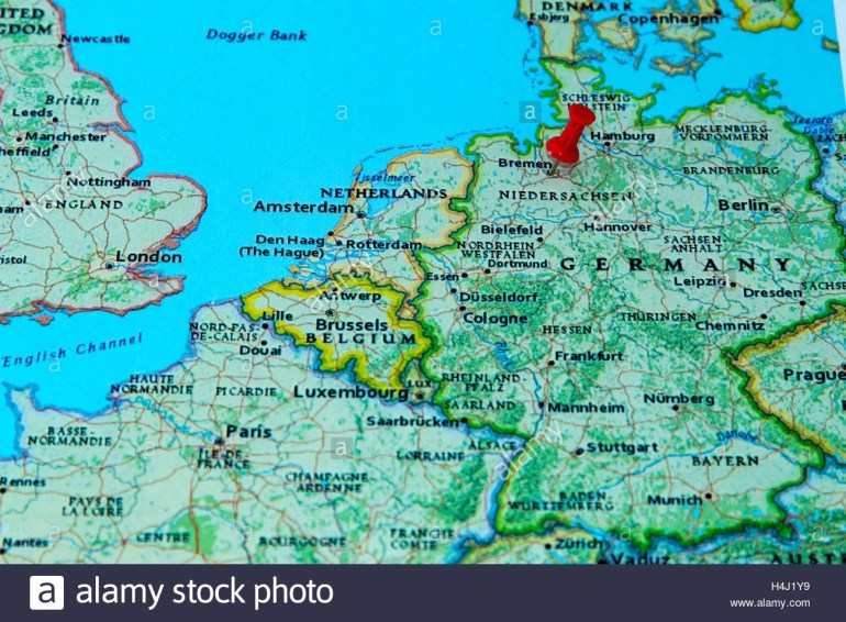 Bremen, Germany Pinned On A Map Of Europe Stock Photo: 123327885 - Alamy within Bremen On Map Of Germany