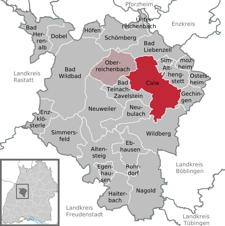 Calw - Wikipedia with regard to Map Black Forest Region Germany