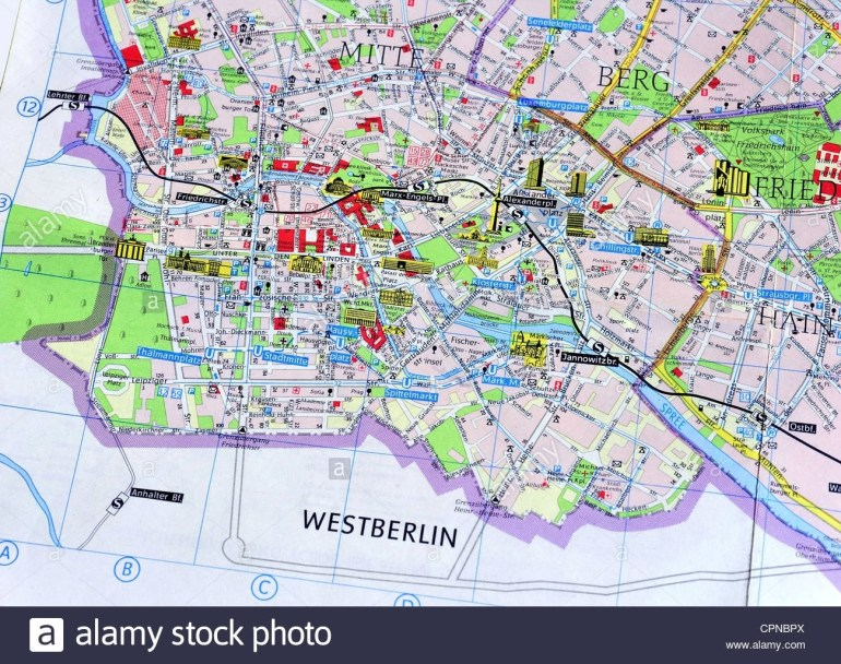 Cartography, City Map, East Berlin, Detail: Berlin-Mitte Stock Photo with regard to Berlin East Germany Map
