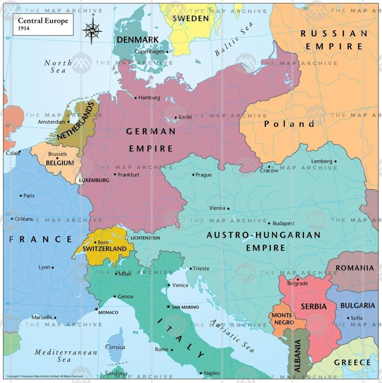 Central Europe 1914 intended for Germany Map 1914