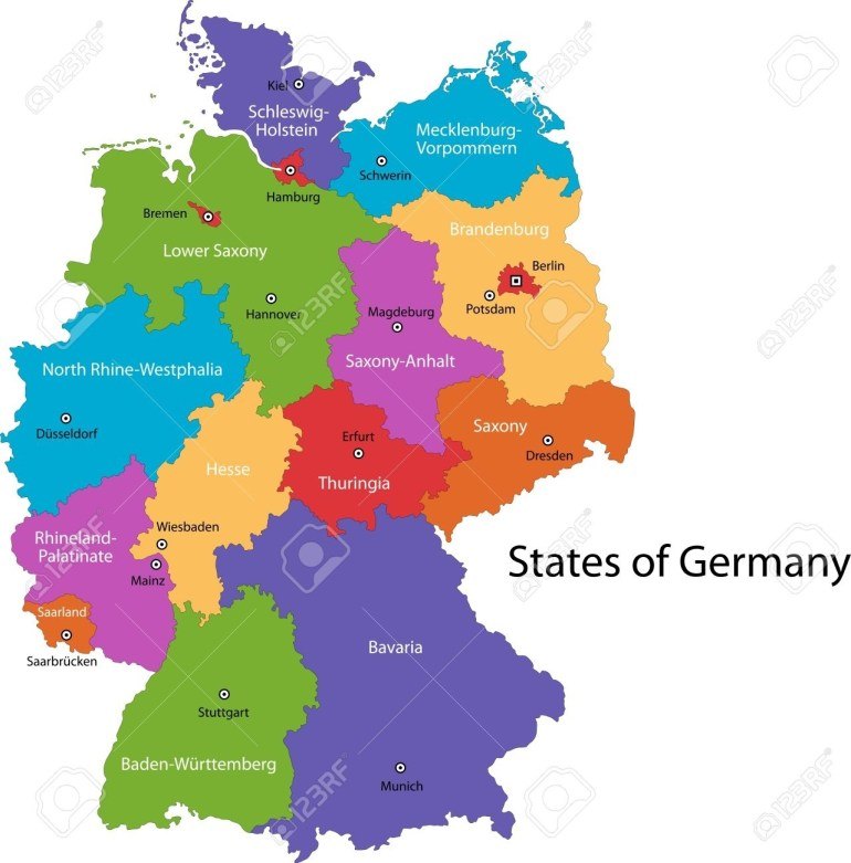 Colorful Germany Map With Regions And Main Cities pertaining to Map Of Germany With Major Cities