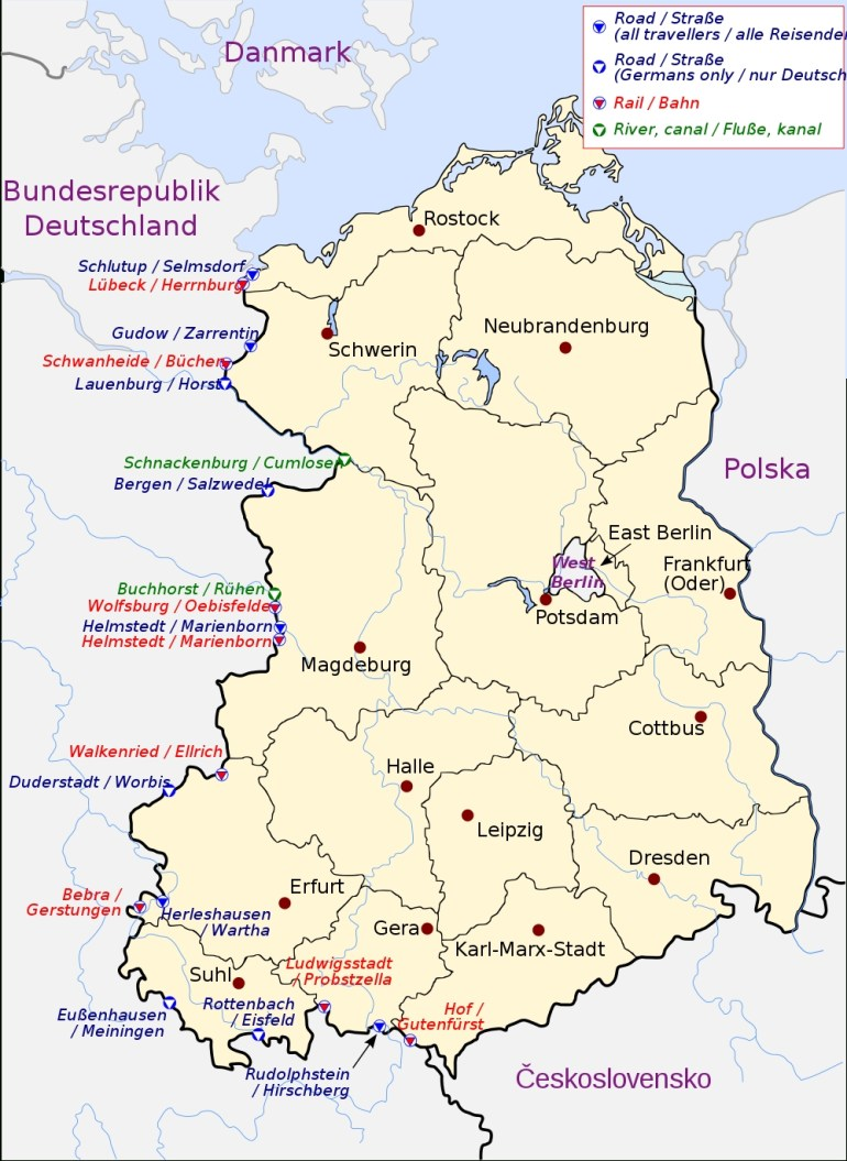 Crossing The Inner German Border - Wikipedia intended for East Germany Map Cold War