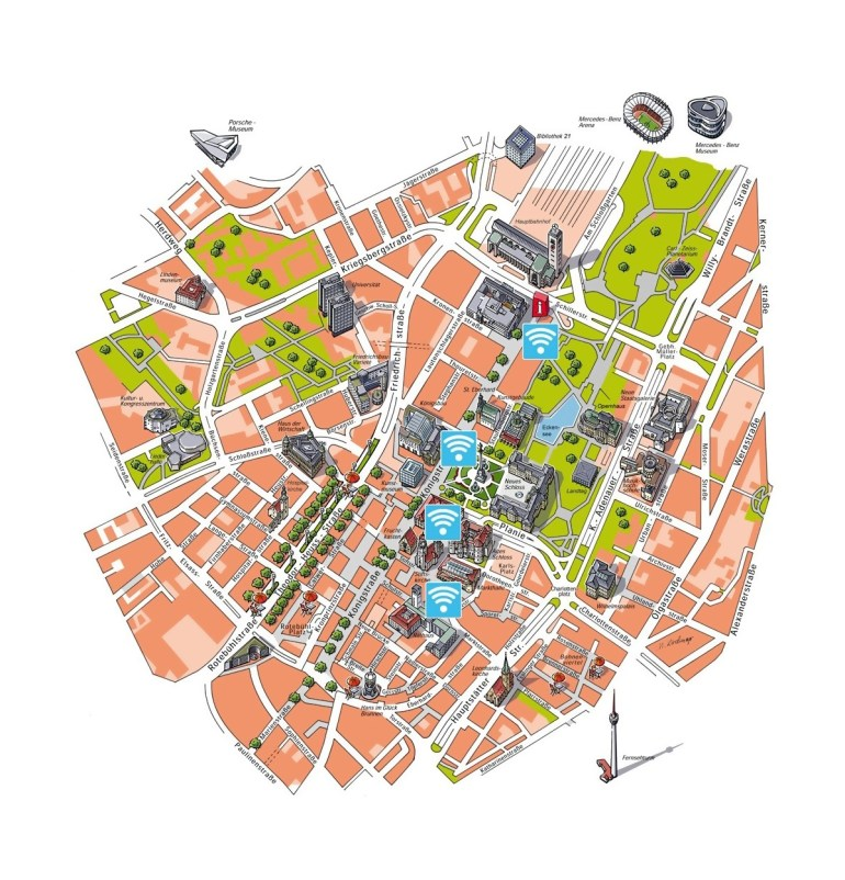 Detailed Free Wifi Map Of Central Part Of Stuttgart City | Stuttgart with regard to Free Wifi Map Germany