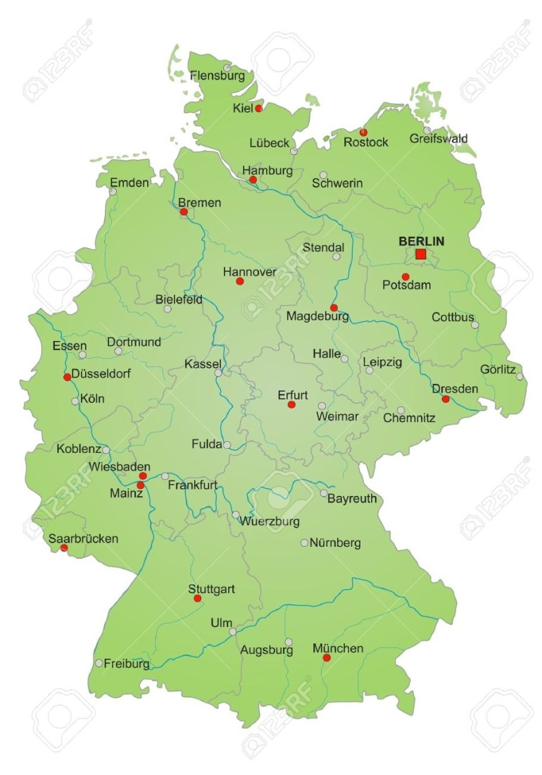 Detailled Map Of Germany Showing Cities, Rivers And All States pertaining to German Rivers Map