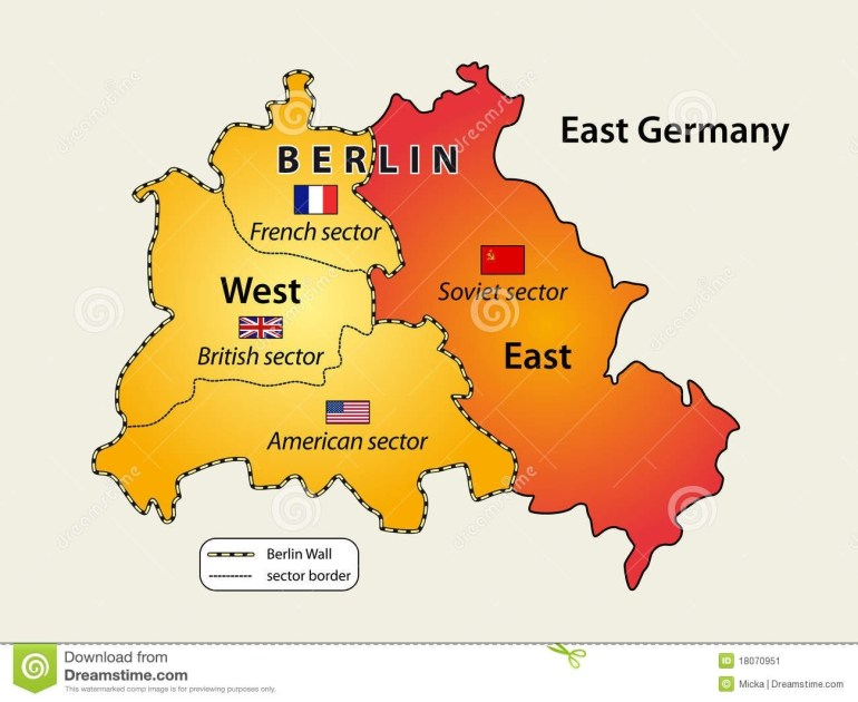 Divided Berlin Stock Vector. Illustration Of East, German - 18070951 with Map Of Divided Germany And Berlin