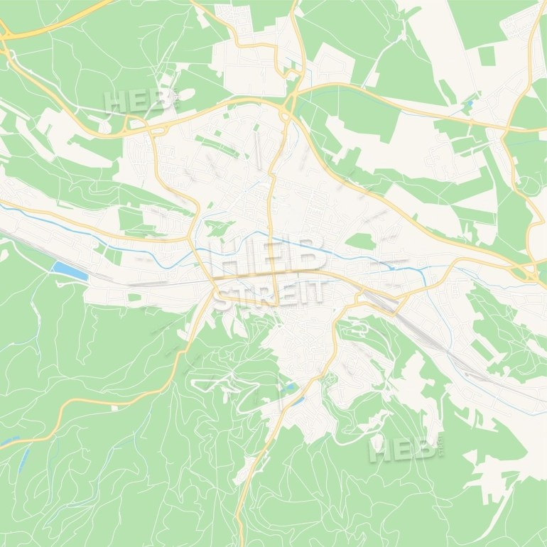Eisenach, Germany Vector Map - Classic Colors | Maps Vector Downloads inside Eisenach Germany Map