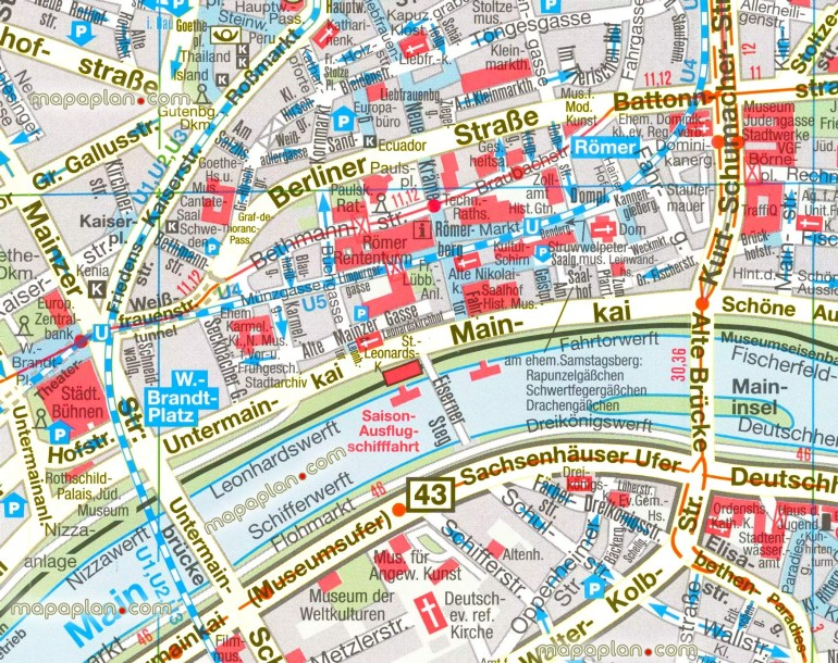 Frankfrut Map And Travel Information | Download Free Frankfrut Map in Map Of Frankfurt Germany City Center