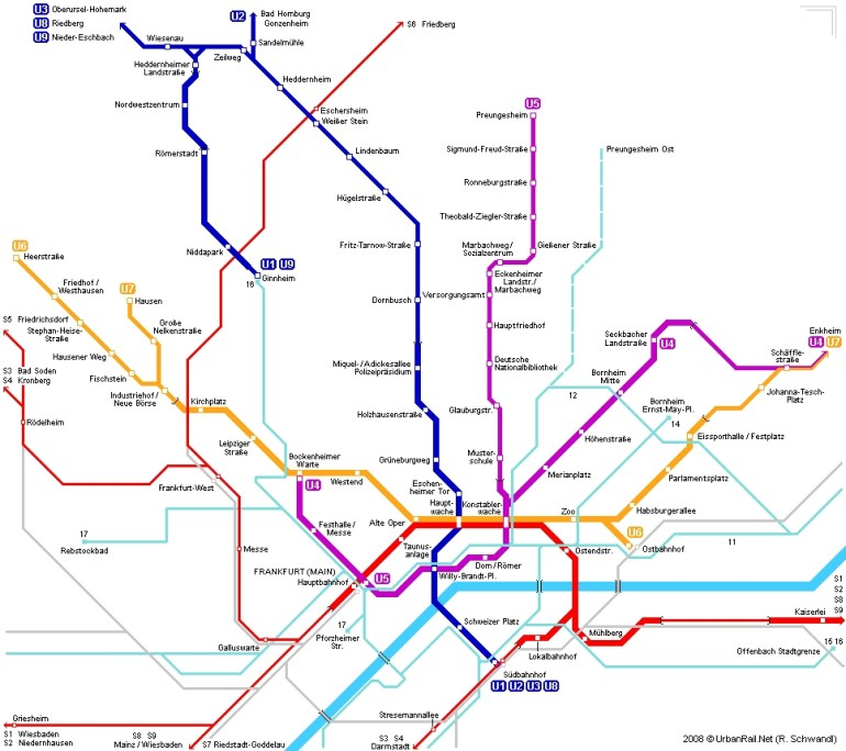 Frankfurt Am Main Subway Map For Download | Metro In Frankfurt Am pertaining to Frankfurt Germany Train Station Map