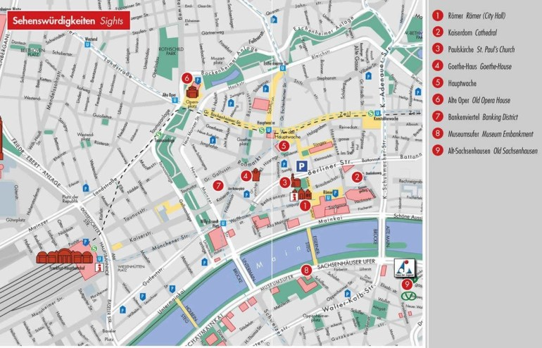 Frankfurt Attractions Map Pdf - Free Printable Tourist Map Frankfurt throughout Walking Map Of Cologne Germany