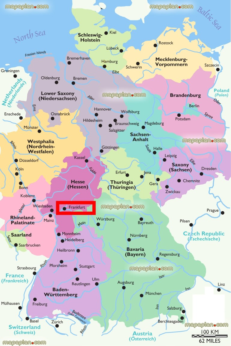 Frankfurt Map - Frankfurt Location On The Map Of Regions Of Germany for Germany Map For Tourist