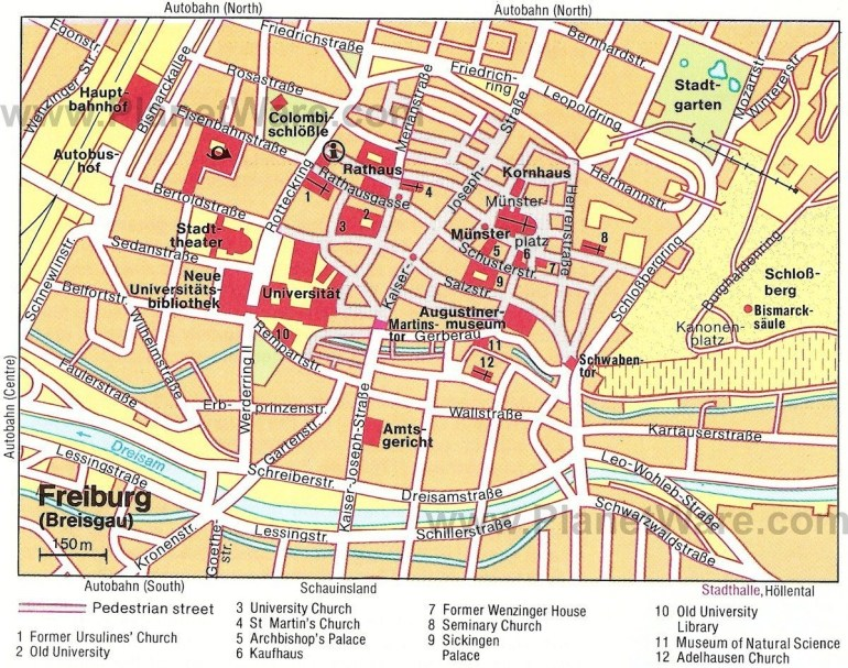Freiburg Im Breisgau Map - Tourist Attractions | 2019 Family Int'l in Street Map Of Freiburg Germany