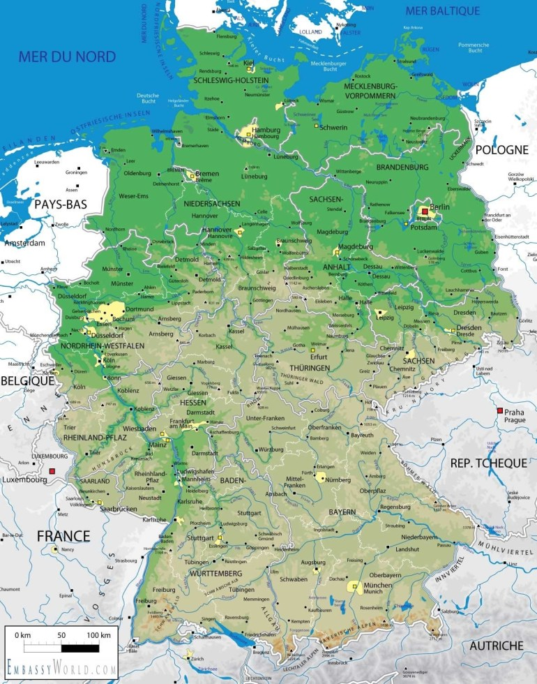 Geography Map Of Germany And Travel Information | Download Free in Physical Geography Map Of Germany