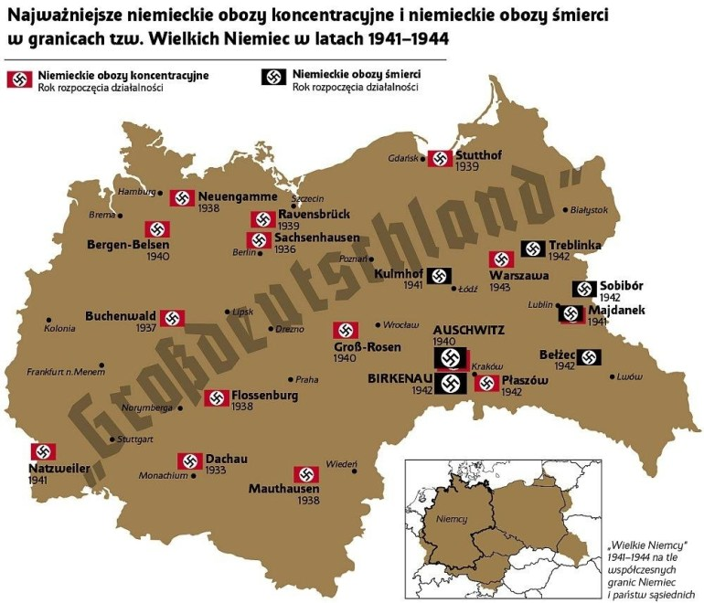 "German Concentration Camps And Exterminations In ""grossdeutschland regarding Map Of Concentration Camps In Germany And Poland"