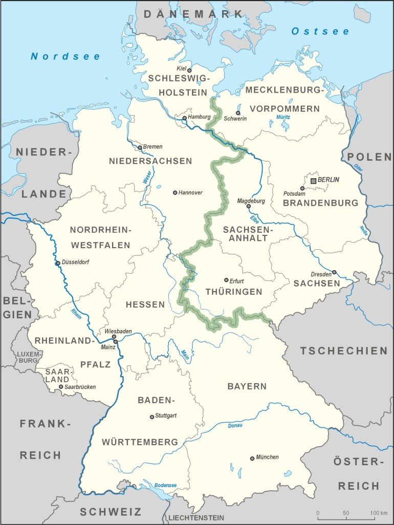 German Green Belt - Wikipedia regarding East And West Germany Border Map