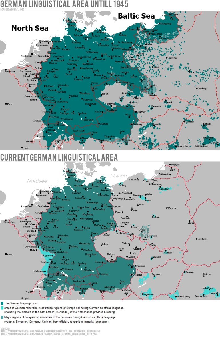 German Linguistic Area Until 1945 Vs. Now | History: The World Wars in Germany Map Before Ww2 And After