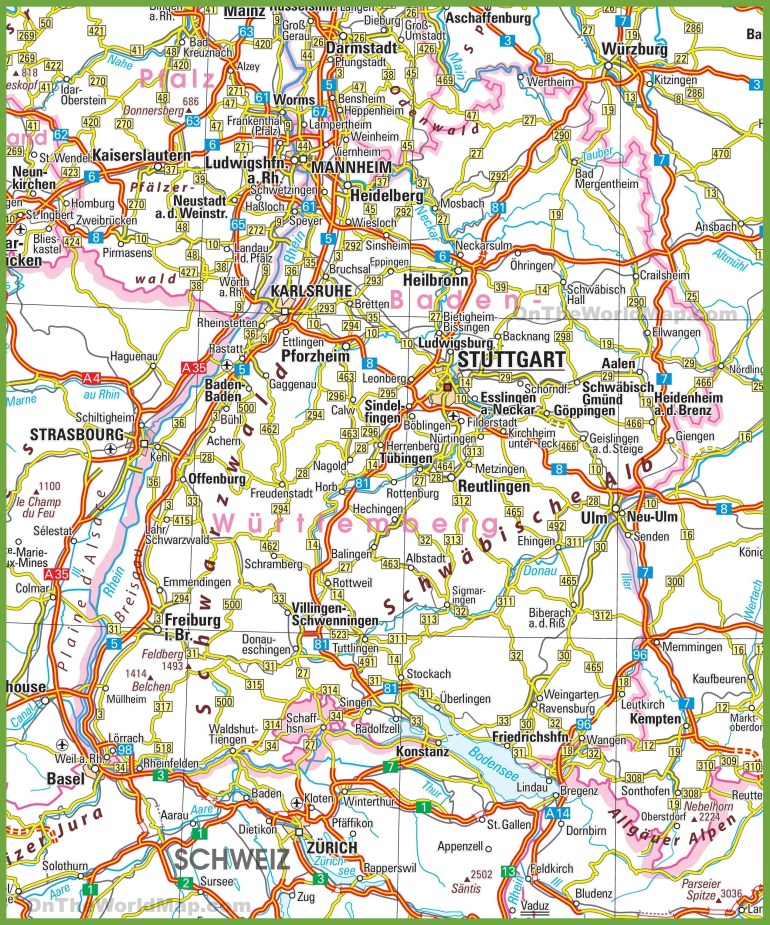 German Road Map And Travel Information | Download Free German Road Map for German Road Maps Free